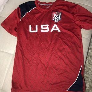 Boys USA soccer shirt XL 18/20 red/blue